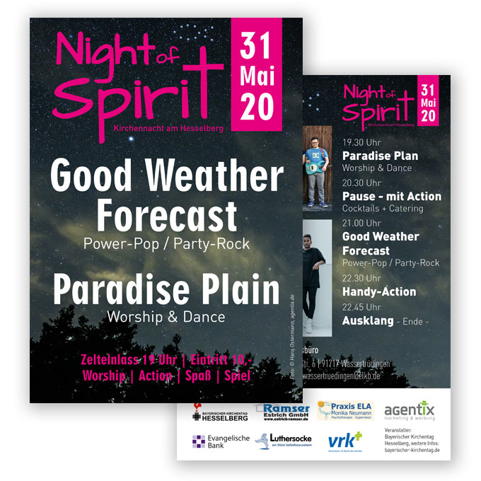 Flyergestaltung Night of Spirit Hesselberg