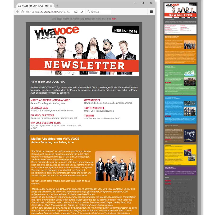 Webdesign Newsletter Viva-Voce Ansbach